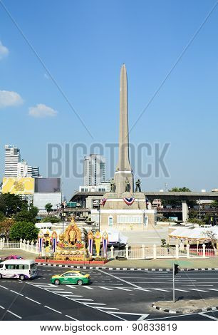 Many Vehicles At Victory Monument In Bangkok