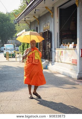 Buddhist Monk In Bangkok, Thailand
