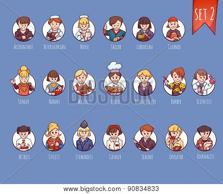 Vector set of business people, such as accountant, veterinarian, nurse and other