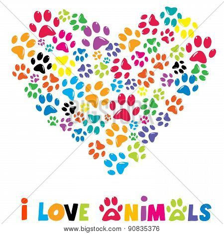 Colorful Heart With Animals Footprints