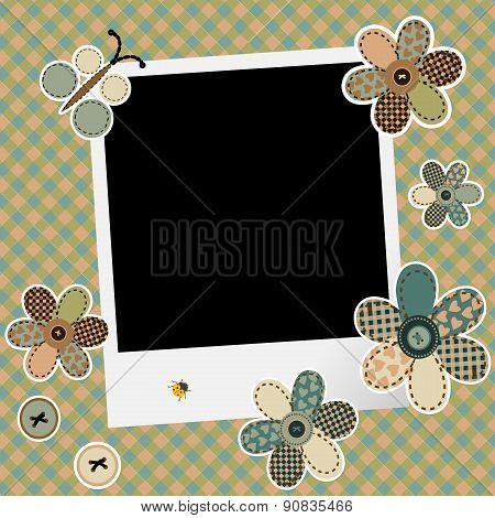 Vintage Design Background For Scrapbook With Photo Frame