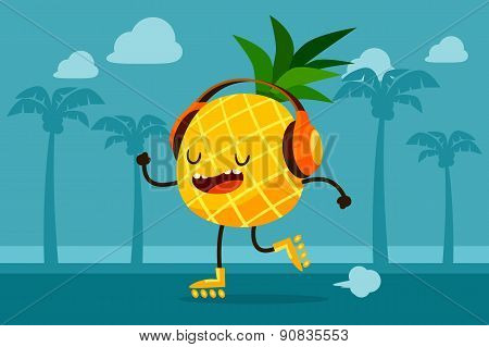 Pineapple Skating At The Beach