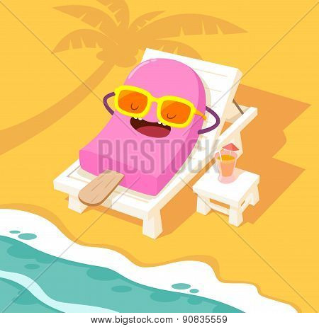 Sunbathing Ice Cream On A Beach