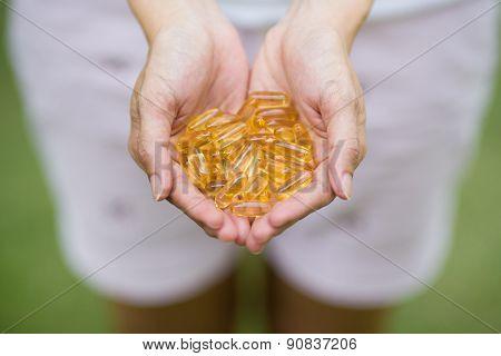 Handful Of Omega-3 Capsules