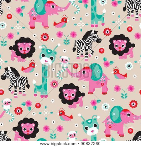 Seamless lion zebra elephant and monkey jungle animals kids illustration background pattern in vector