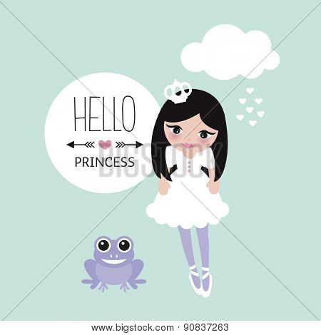 Sweet princess and frog prince theme kids colorful background illustration girls postcard design in vector