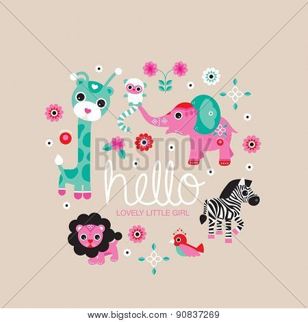 Hello little girl zoo and jungle animals postcard cover design for new born baby girls announcement or invitation