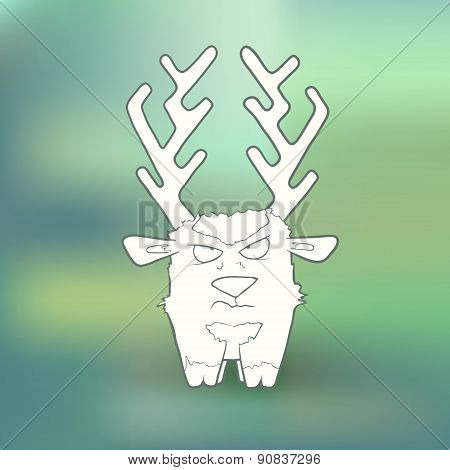 Vector Illustration Hand-drawn angry deer with long horns on blurred green background