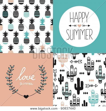 Seamless pineapples and cactus arrows illustration background pattern and summer love indian summer postcard cover design template in vector