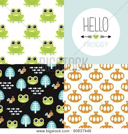 Seamless frog prince theme cute forest animal design illustration background pattern collection for kids and hello froggy postcard cover design in vector