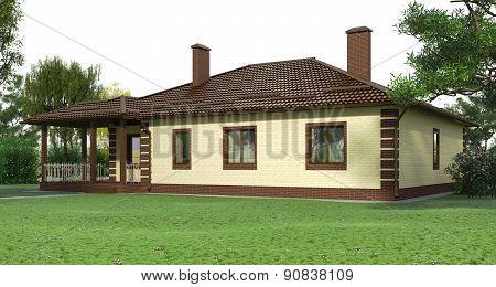 Brick house with a garden2