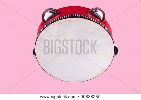 Tambourine Isolated On Pink