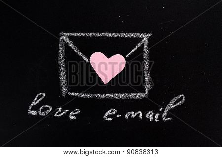 envelope, drawn in chalk and text
