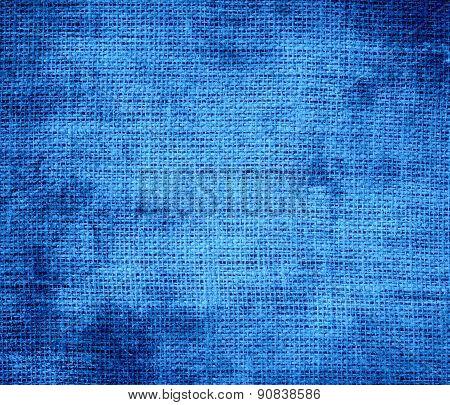 Grunge background of Bleu de France burlap texture