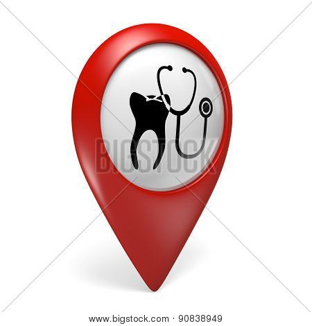 3D red map pointer icon with a tooth symbol for dentist clinics