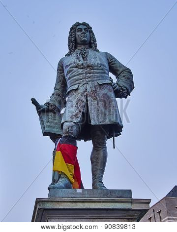 Handel's statue in the central market place of Halle, Germany