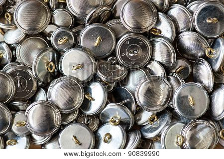 Background Texture Of Round Silver Metal Buttons