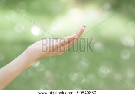 Empty Human Hand With Bokeh Background