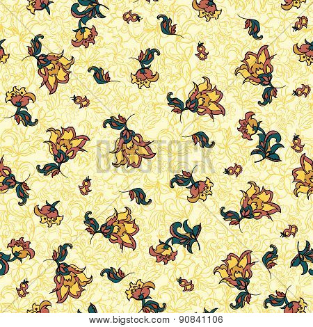 retro textile floral seamless pattern. light vector background