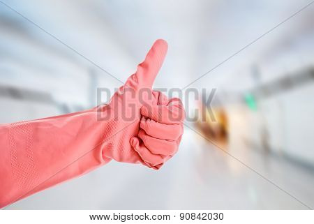 Latex glove shows ok sign