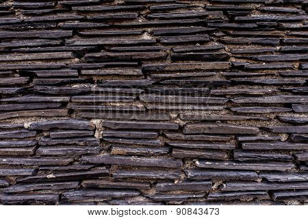 Close up of a brick-wall Modern black stone texture background.