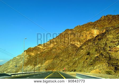 Road view in Sharjah-Kalba road with Mountains