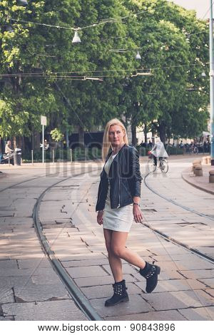 Beautiful Girl Posing In The City Streets