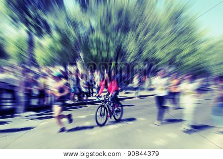 Abstract Background. International Marathon Runner.  Blur Effect Defocusing Filter Applied