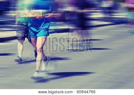 Detail Of A Marathon Runner In Full Action.   Group Of Runners, Emotional Blurred Imagepeople Runnin