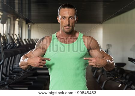 Physically Man Pointing On His Body