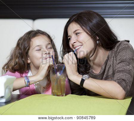 Happy family drinking  juice