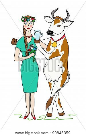 Cow Gives The Girl A Cup Of Milk. Woman Vegetarian.