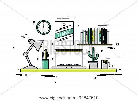 Designer Workspace Line Style Illustration