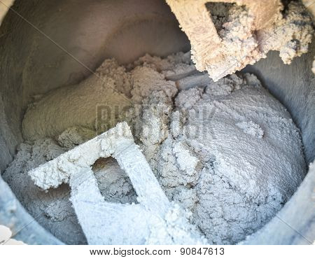 Cement Or Mortar Is Inside Cement Mixer