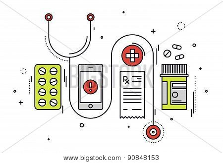 Medical Diagnostics Line Style Illustration