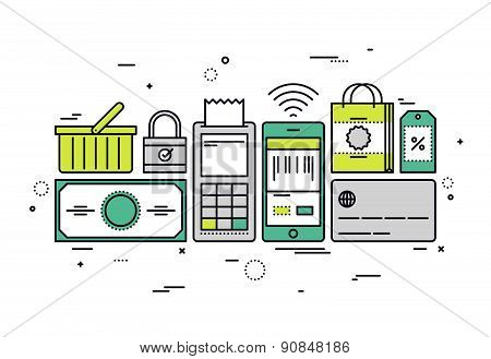 Shopping Checkout Line Style Illustration