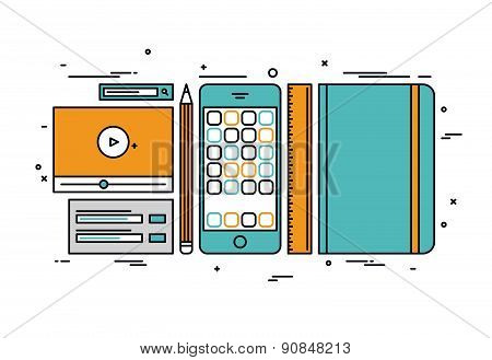 Apps Develop Line Style Illustration