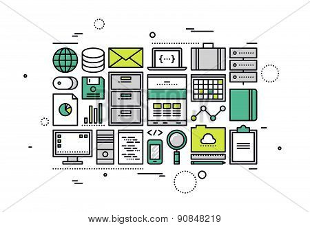 Digital Office Accounting Line Style Illustration