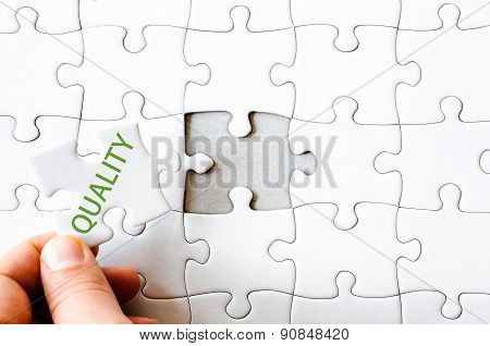 Missing Jigsaw Puzzle Piece With Word Quality