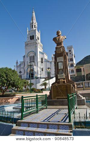 Bronze sculpture of Eloy Alfaro, historic liberal Ecuadorian president. Main plaza, Montecristi