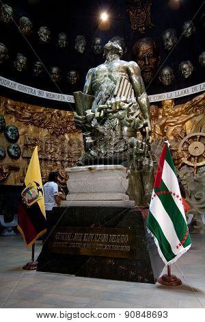 Mausoleum and sculpture of Eloy Alfaro in Montecristi, Ecuador