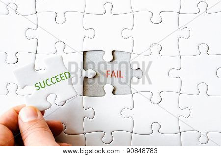 Missing Jigsaw Puzzle Piece With Word Succeed