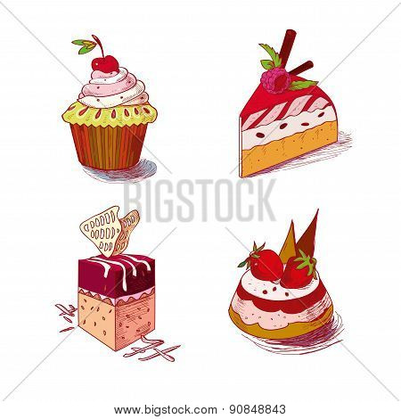 hand drawn confections dessert pastry bakery products cupcake muffin