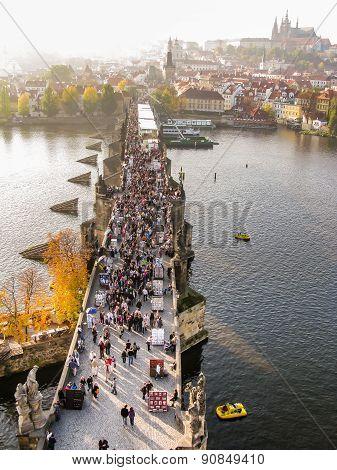 Top View On Charles Bridge In Prague