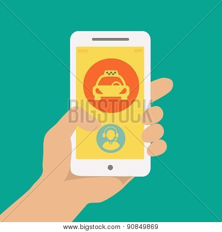hand holding phone with taxi hire service application running