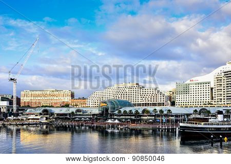 Sydney, Australia - August 11, 2015 : Cityscape Of Darling Harbour