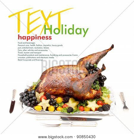 Holiday roasted turkey. Copy space