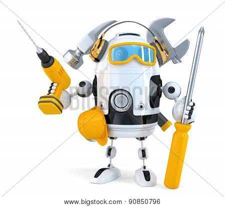 Robot - Industrial Worker Concept. Isolated. Contains Clipping Path