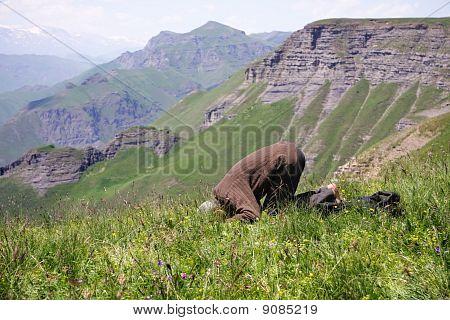Praying Man Making Low Bow