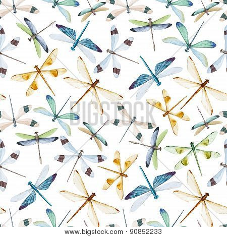 Watercolor dragonflies pattern